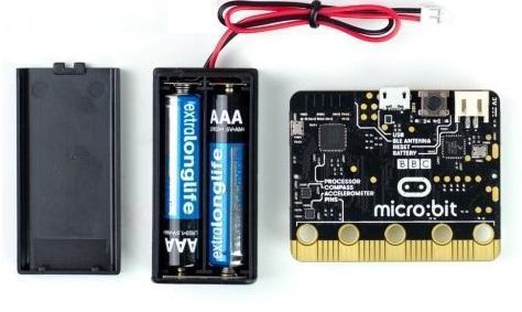 Mikro kompiuteris BBC micro bit su USB ir baterijomis